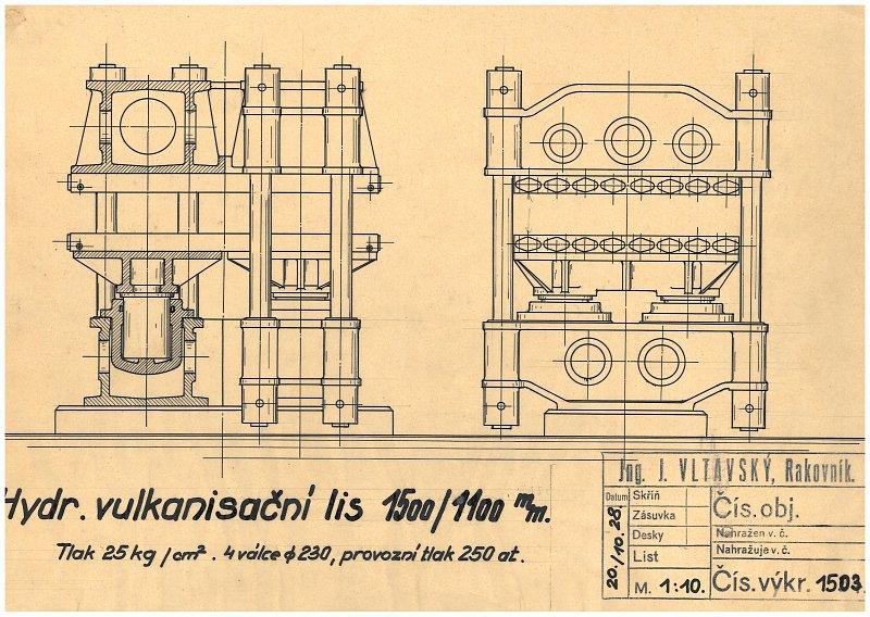 Drawing of a hydraulic vulcanization press