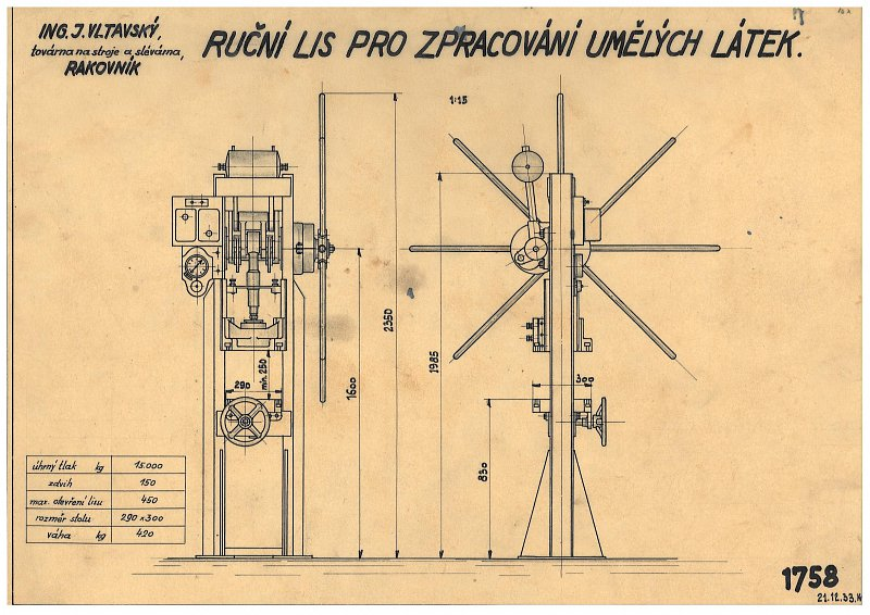 Drawing of a manual press